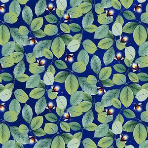 Let Your Light Shine Foliage with Firefly on Navy Glow In The Dark Fabric 0.5m