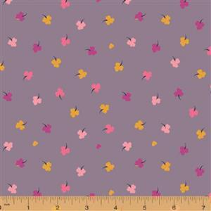 Solstice Clover on Mauve Fabric 0.5m
