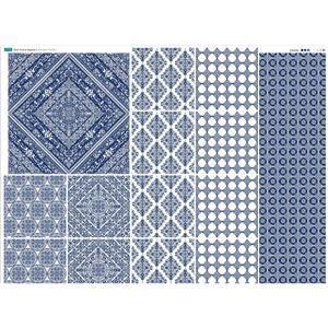 Blue Square Porcelain Tiles Fabric Panel 140x114cm