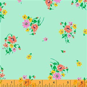 Posy On Mint Fabric  0.5m