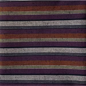 Shimamomen Striped Yarn Dyed Slate Russett Purple Grey  Fabric 0.5m