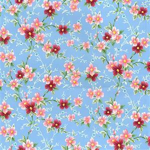 Pink Flowers on Sky Cotton Poplin Fabric 0.5m