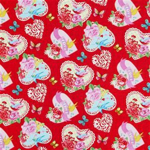 Henry Glass Heart & Soul in Special Hearts on Red Fabric 0.5m