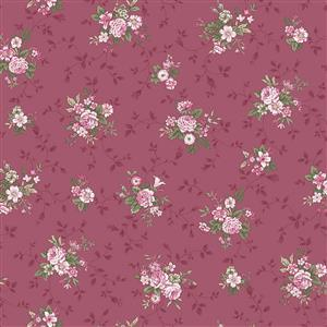 Juliet Roses Plumb Floral Fabric 0.5m