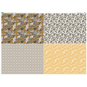 Paisley Marmalade 4 FQ's Fabric Panel 1 - 140cm x 105cm Exclusive