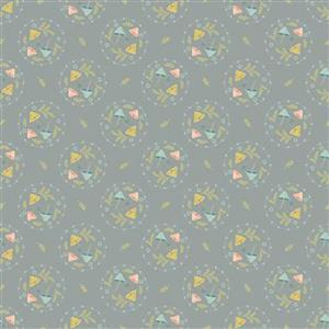 Woodland Songbirds in Mushroom Toss Gray Fabric 0.5m