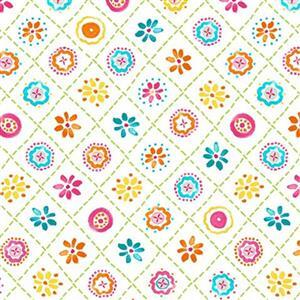 Happy Days in Crisscross Floral Multi Fabric 0.5m