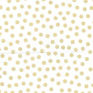 White with Metallic Gold Dot 100% Cotton 0.5m