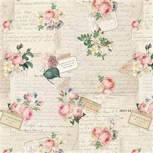 Riley Blake Rose Violets Gift Note Parchment Fabric 0.5m